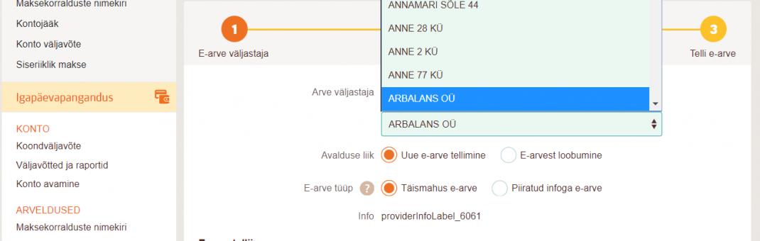 Nüüd saab raamatupidamisteenuse arveid Arbalans OÜ-le e-arve püsimakse lepinguga Swedbank-ist eriti mugavalt tasuda