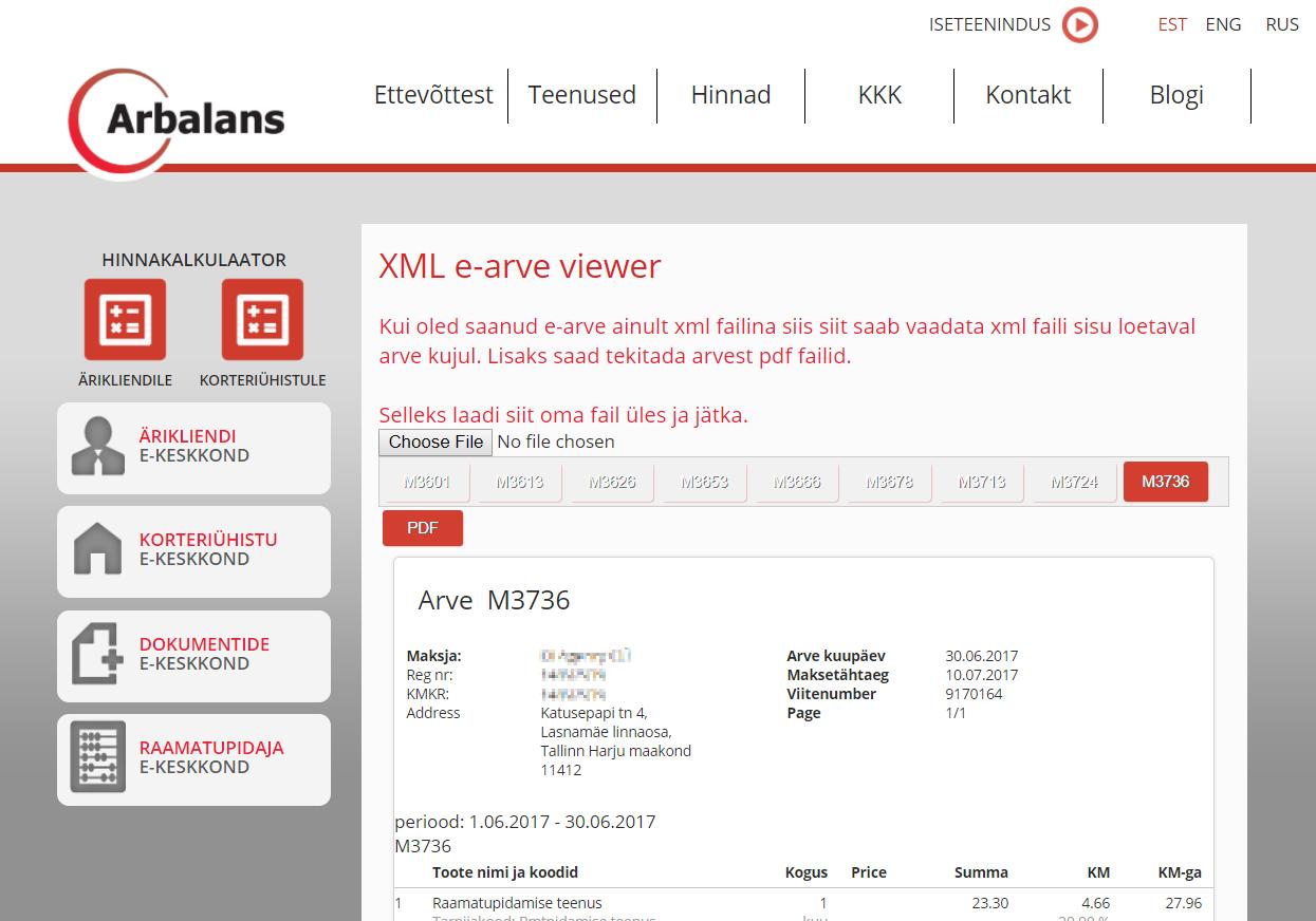 XML Eesti e-arve viewer